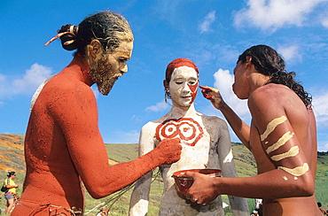 Tau'a Rapa Nui triathlon, body painting. Tapati Rapa Nui festival. Islander. Easter Island. Chile.