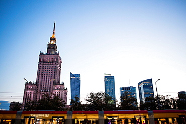 The Palace of Culture and Science and tram, Warsaw, Poland