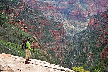 Female backpacker viewing Grand Canyon, Flagstaff, Arizona, USA