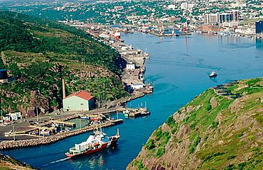 Skyline of the port of Saint John's in Newfoundland and Labrador (Terre-Neuve and Labrador). Canada