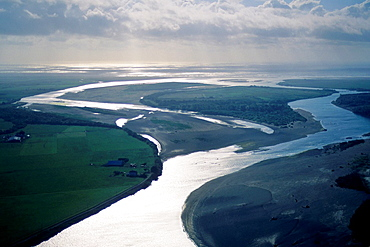Aerial over the mouth of the Eel River, near Ferndale, Humboldt County, CALIFORNIA.