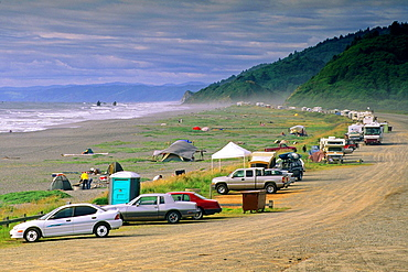 Line of cars & campers at beach, Redwood National Park, near Orick, Humboldt County, CALIFORNIA.