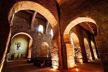Aisle, Saint-Michel church, Saint-Michel-de-Cuxa Benedictine Abbey, 879AD, Pyrenees-Orientales, France