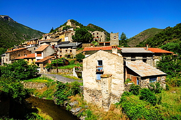 Conat village, Noedes natural reserve, Madres-Coronat massif, Roussillon, Pyrenees-Orientales, France