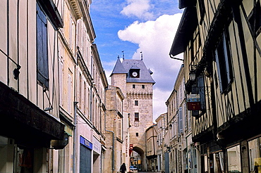 The Clok Tower, town gate, former prison and belfry. City of Saint Jean d'Angely. Charente Maritime. Poitou-Charentes. France.