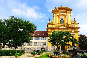 Yellow Evangelische Stadtkirche Catholic Church Kitzingen Germany Bavaria Deutschland DE Bavaria.