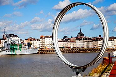 Les Anneaux by Daniel Buren and Patrick Bouchan at Ile de Nantes, Nantes, Pays de la Loire, France, Europe.