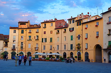 Lucca, Anfiteatro square at Dusk, Piazza Dell'anfiteatro,Tuscany, Italy, Europe