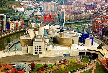 Guggenheim and Bilbao aerial view.