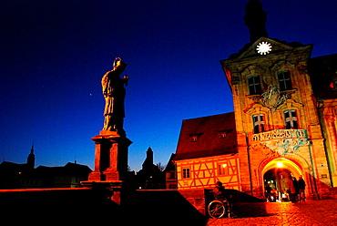 Bamberg Town Hall at dusk