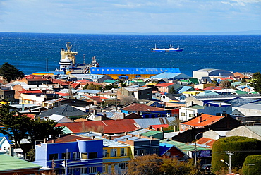 City of Punta Arenas in the Strait of Magellan Chile