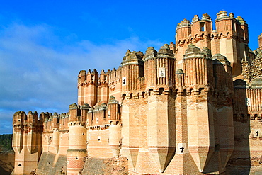 View of Coca castle, declarated National Monument. Segovia province, Castilla y Leon, Spain.