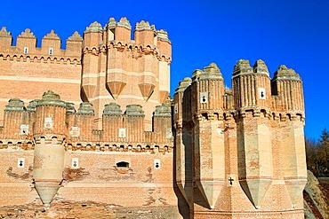 View of Coca castle, declarated National Monument. Segovia province, Castilla y Leon, Spain.