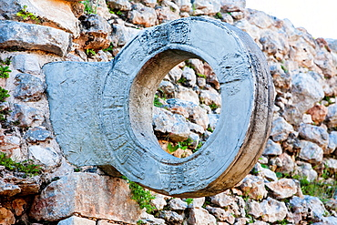 Mexico, Uxmal, carved stone ring on Ball Court (Juego de Pelota).