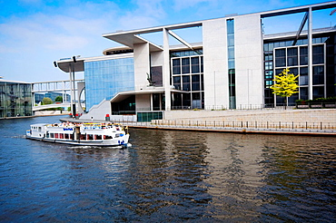 Germany, Berlin, Band des Bundes Government Ministries Complex Straddles the River Spree.