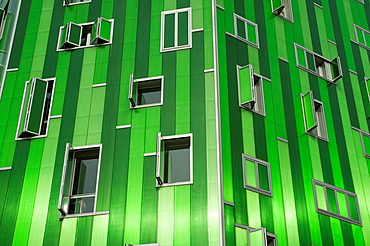 Facade of Vallecas 51 building, Ensanche de Vallecas. Madrid, Spain.