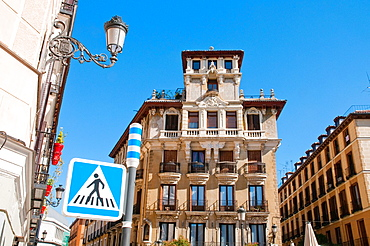 Facade of house. Ramales Square, Madrid, Spain.