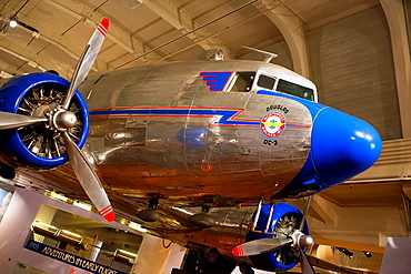 Dearborn, Michigan, A Douglas DC-3 operated by Northwest Airlines on display at the Henry Ford Museum. The DC-3 was first produced in 1935, many are still in use today.
