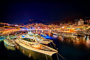 Luxury yachts docked in the marina at Monte Carlo, Monaco.