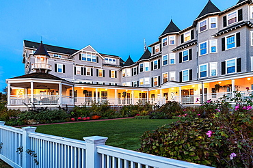 Harbor View Hotel at dusk, Edgartown, Martha's Vineyard, Massachusetts, USA.