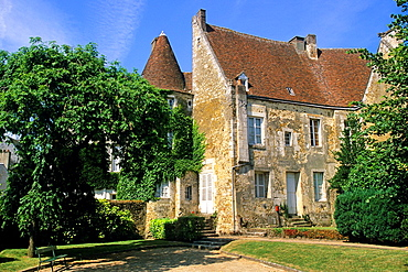 Mortagne-au-Perche, Regional Natural Park of Perche, public garden in front of the House of the Counts of Perche, Orne department, Lower Normandy region, France, Western Europe.