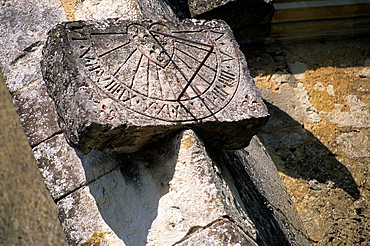 sundial of the Church of Courgeon, Regional Natural Park of Perche, Orne department, Lower Normandy region, France, Western Europe.