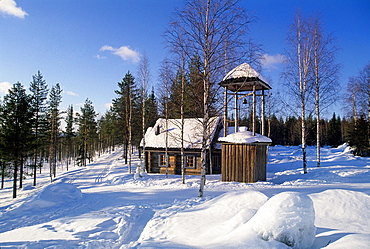 wooden chapel of Lainio, Lapland, Finland, Northern Europe.