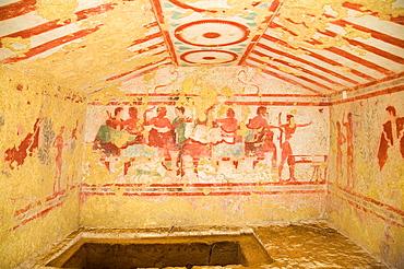 Europe, Italy, Lazio, Tarquinia, Necropolis Of Monte Calvario, Tomb Of Claudio Bettini, Middle Of The V Century Bc