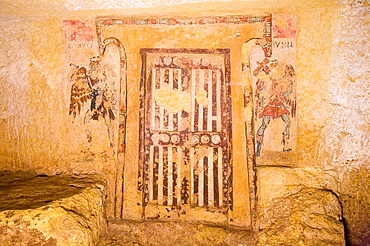 Europe, Italy, Lazio, Tarquinia, Necropolis Of Monte Calvario, Tomb Of The Caronti, 150-125 Bc
