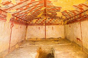 Europe, Italy, Lazio, Tarquinia, Necropolis Of Monte Calvario, Tomb Of The Hunter, 510-500 Bc