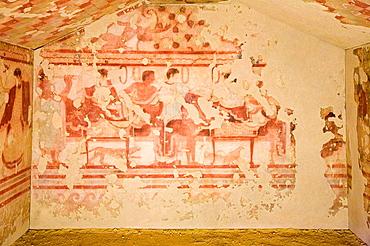 Europe, Italy, Lazio, Tarquinia, Vitelleschi Palace, National Museum, Tomb Of The Triclinio
