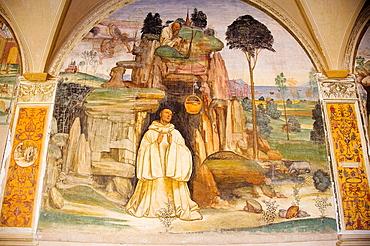 Europe, Italy, Tuscany, Monte Oliveto Maggiore Abbey, Major Cloister With Frescos Of The Life Of St Benedetto, Fresco By Giovanni Antonio Bazzi Called Sodoma, Come Lo Dimonio Rompe La Campanella