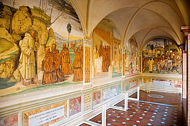 Europe, Italy, Tuscany, Monte Oliveto Maggiore Abbey, Major Cloister With Frescos Of The Life Of St Benedetto, Frescos By Giovanni Antonio Bazzi Called Sodoma