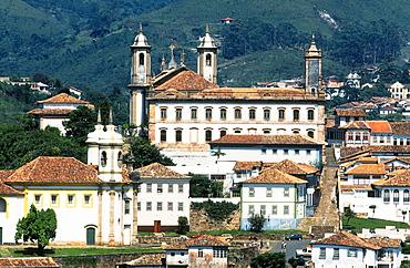 America, Brazil, Minas Gerais, Ouro Preto, Panoramic View Of The Old City