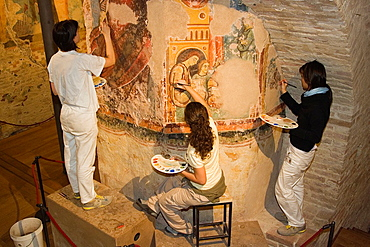 Europe, Italy, Tuscany, Siena, Cathedral, Crypt, Restorers