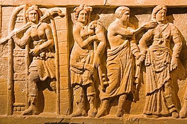 Europe, Italy, Tuscany, Siena, Santa Maria Della Scala, Exhibition Of Etruscan Art, Collection Of Pietro Bonci Casuccini, Alabaster Sarcophagus