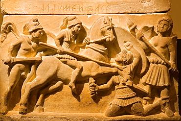 Europe, Italy, Tuscany, Siena, Santa Maria Della Scala, Exhibition Of Etruscan Art, Collection Of Pietro Bonci Casuccini, Alabaster Cinerary Urn, Scene Of War