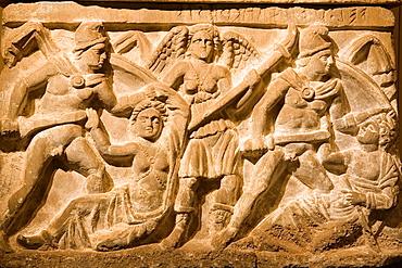 Europe, Italy, Tuscany, Siena, Santa Maria Della Scala, Exhibition Of Etruscan Art, Collection Of Pietro Bonci Casuccini, Alabaster Cinerary Urn, Killing Of Clytemnestra And Aegisthus