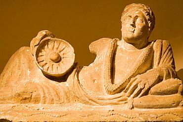 Europe, Italy, Tuscany, Siena, Santa Maria Della Scala, Exhibition Of Etruscan Art, Collection Of Pietro Bonci Casuccini, Alabaster Cinerary Urn