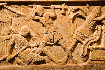 Europe, Italy, Tuscany, Siena, Santa Maria Della Scala, Exhibition Of Etruscan Art, Collection Of Pietro Bonci Casuccini, Alabaster Sarcophagus, Scene Of War