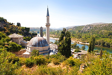 mosque, pocitelj, ancient town and neretva river, bosnia and herzegovina, europe.