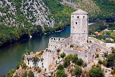 gavrankapetan tower, pocitelj, ancient town and neretva river, bosnia and herzegovina, europe.