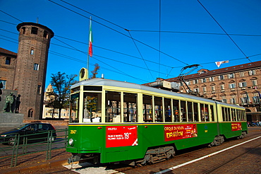Tram at stop Piazza Castello the Castle square central Turin city Piedmont region northern Italy Europe.
