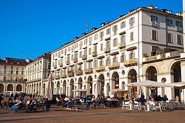 Piazza Vittorio Veneto square central Turin Piedmont region Italy Europe.