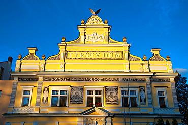 Tyrsuv dum (1906) detail in facade Melnik central Bohemia region Czech Republic Europe.