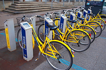 Tobike the Turin bike sharing scheme bicycle point central Turin Piedmont region Italy Europe.