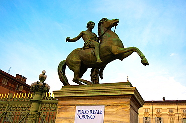 Equestrian statue at Piazza Castello in front of Palazzo Reale the royal palace central Turin Piedmont region Italy Europe.