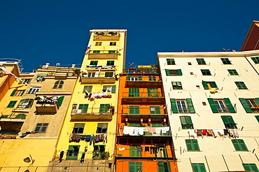 Residential housing apartment buildings blocks of flats in front of the new port Genoa Liguria region Italy Europe.