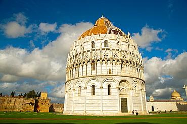 Battistero the Baptistry at Piazza del Miracoli the field of miracles Pisa city Tuscany region Italy Europe.