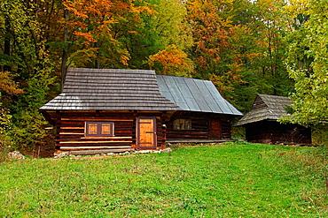 Old log cabins at the rural settlement Podsip, NP Velka Fatra, Slovakia.